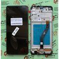 Дисплей для Samsung A215 Galaxy A21 черный, с сенсорным экраном, с рамкой, Service pack