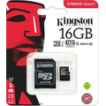 Kingston Micro SD 16Gb + адаптер для SD, 10 class