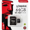 Kingston Micro SD 64Gb + адаптер для SD, 10 class
